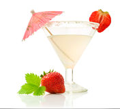 Glass beverage with ripe strawberries Stock Photography