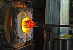 Glass blåsa panna Fotografering för Bildbyråer