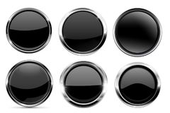 Glass black buttons collection. Round 3d icons with metal frame royalty free illustration
