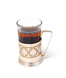 Glass of black tea with glass holder Royalty Free Stock Photo