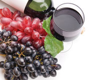 Glass of black wine and grapes Stock Photos