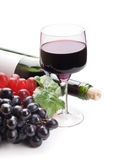 Glass of black wine and grapes Royalty Free Stock Image