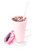 Glass of blended fruit strawberry smoothie with sunglasses Stock Images