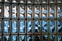 Glass block wall. A view of a translucent wall or divider built of glass blocks royalty free stock image