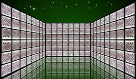 Glass Block Wall Room on night sky Royalty Free Stock Photography