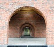 Glass Block Window Through Brick Arches Stock Image