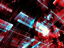 Glass blocks - abstract digitally generated image. Glass blocks - technology background. Abstract computer-generated 3d illustration. Fractal art - futuristic Stock Images