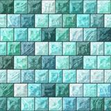 Glass blocks. The pattern from the glass blocks in blue and green color Royalty Free Stock Photo