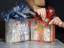 Glass Blocks With Christmas Ribbons and Lights Stock Image