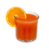 Glass of blood orange and orange juice in glass on white. Glass of blood orange and orange juice in glass with piece of orange  on white Stock Images