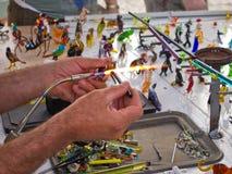 Glass blower artist at work Stock Photos