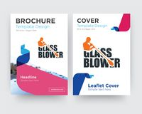 Glass blower brochure flyer design template. With abstract photo background, minimalist trend business corporate roll up or annual report Stock Photography