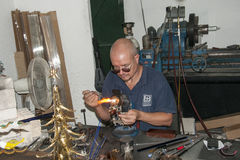 Glass blower in city Mdina on the island Malta Stock Photography