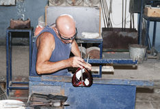 Glass blower in city Mdina on the island Malta Royalty Free Stock Photo
