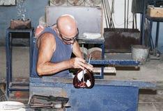 Glass blower in city Mdina on the island Malta Royalty Free Stock Photo