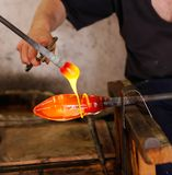 Glass Blower at His Work Stock Images