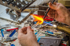 Glass blower work Royalty Free Stock Photography