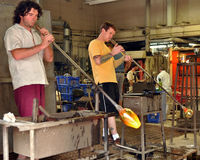 Glass blowers at work Royalty Free Stock Images