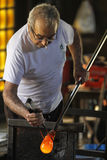 Glass blowery senior master worker Royalty Free Stock Image