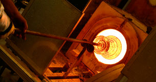 Glass blowing furnace Stock Images
