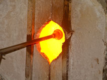 Glass blowing, oven opening Royalty Free Stock Photo