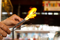 Glass blowing and working Royalty Free Stock Photos
