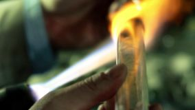 Glass-blowing workshop close-up stock video