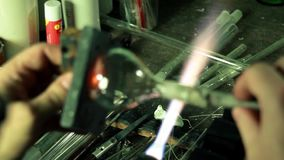 Glass-blowing workshop close-up stock video footage