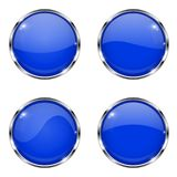 Glass blue buttons. Round 3d buttons with chrome frame. Vector illustration isolated on white background Stock Photo