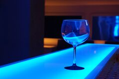 Glass on blue counter