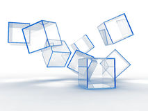 Glass blue cubes Stock Photo
