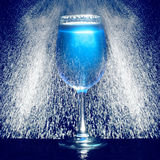 Glass of blue fresh liquid drink Royalty Free Stock Images