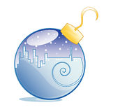 Glass Blue Ornament. A blue ornament, inside which there is a city lit up, on a starry night Stock Photos