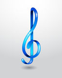 Glass blue treble clef Stock Images