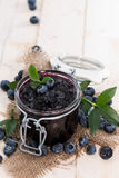 Glass with Blueberry Jam Royalty Free Stock Images