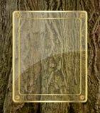 Glass board on tree bark background Royalty Free Stock Photos