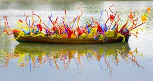 Glass Boat. Boat full of glass art Stock Images