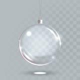 Glass boll 3D för genomskinlig jul Fotografering för Bildbyråer