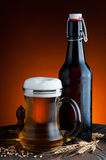 Glass and bottle of beer stock photos