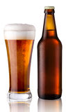 Glass and bottle of beer. Bottle with beer and glass with beer Royalty Free Stock Photo