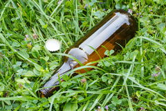 Glass bottle and bottle cap on grass in park, littering of environment Stock Photography