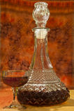 Glass and bottle of brandy Royalty Free Stock Image