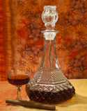 Glass and bottle of brandy Royalty Free Stock Images