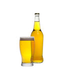 Glass and bottle of cider isolated Royalty Free Stock Image