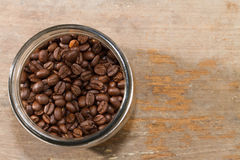 Glass bottle and coffee Royalty Free Stock Images