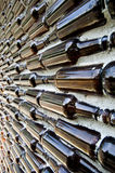 Glass bottle concrete wall. Glass bottle build on concrete wall Royalty Free Stock Photos