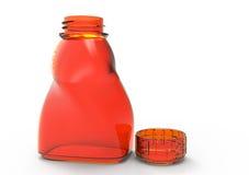 Glass bottle 3D. Glass bottle artistic isolate 3D colored vector illustration