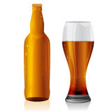 Glass and bottle of dark beer. Royalty Free Stock Images