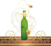 Glass and bottle with decorative ribbon Royalty Free Stock Images