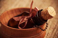 Glass bottle of essential oil. aromatherapy Royalty Free Stock Photography
